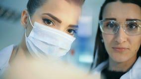 学习试管的两位可爱的女性科学家在实验室 股票视频