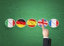 学习过程的外语的概念 手指是指出团结王国旗子作为在foreig选择的一种优先权  库存照片