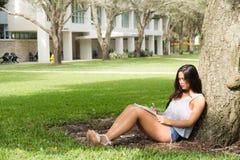 学习年轻的女学生,当在树下坐阵营时 免版税图库摄影
