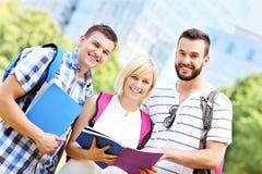 学会在公园的小组愉快的学生 免版税图库摄影