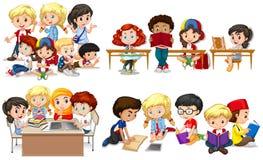 学会在教室的愉快的孩子 库存例证