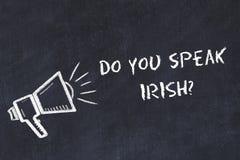 学会外语概念 用粉笔写扩音器的标志有词组的您讲爱尔兰语 皇族释放例证