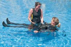 女性潜水者 免版税库存照片