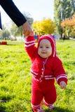 学会小的婴孩走 拿着baby& x27的妈妈; s手 免版税图库摄影