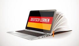 学会德国概念-膝上型计算机和书编辑-电子教学语言 向量例证