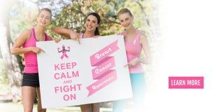 学会更多按钮与在举行加州的文本和桃红色乳腺癌了悟妇女保留安静并且战斗 库存图片