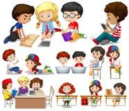 学会的孩子读和 库存例证