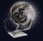 学会的月亮唱歌 库存照片