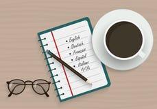 学会网上语言 外语名单 免版税图库摄影