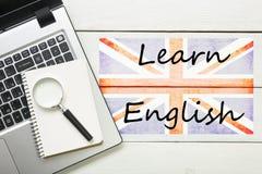 学会英国概念 对学会语言的时间 免版税库存图片