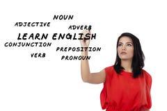 学会英语的女学生 免版税库存照片