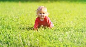 学会逗人喜爱的小女孩爬行在夏天草坪 免版税库存图片