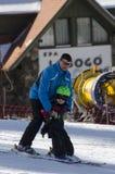 学会滑雪 库存图片
