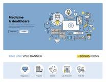医学和医疗保健平的线横幅 向量例证