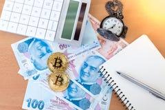 学报、笔、怀表和两金黄bitcoins在土耳其里拉 免版税库存图片