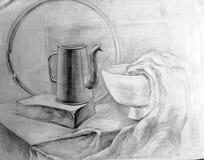 学术图画铅笔,经典之作,静物画,自然morte 免版税库存照片