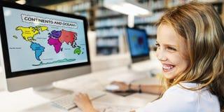 学术学校Childern电子教学地理概念 免版税库存图片