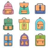 学校、行家和街道背包的汇集 免版税库存图片