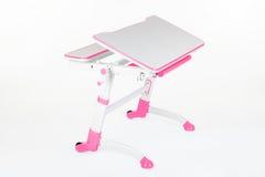 学校书桌和椅子桃红色 图库摄影