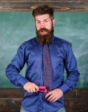 学校事故预防 老师有胡子的人有桃红色订书机黑板背景 教育文教用品 褴褛的人 免版税库存图片