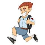 去学校动画片的男孩 免版税图库摄影