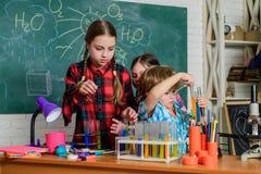 学校化学实验室 r 教育概念 在化学班的学生 E 库存照片