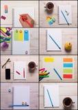学校和办公用品拼贴画 免版税库存图片