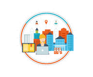 学校和大学大厦象 都市的横向 免版税库存照片