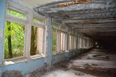 学校在Pripyat禁区鬼魂城市 库存图片