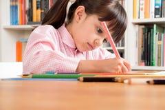 学校女孩图画 库存图片