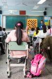 学校女孩在中国教室 免版税图库摄影