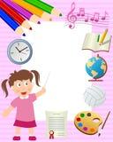 学校女孩照片框架 免版税图库摄影