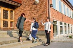学校女孩的起动场面 免版税图库摄影