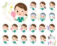 学校女孩绿色Blazer_beauty 库存图片