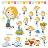 学校女孩White_food节日 免版税库存照片
