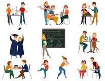 学校学生动画片集合 向量例证