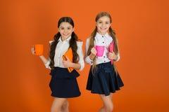 学校惯例 安排断裂放松 饮用的茶一会儿断裂 放松与饮料的学校伙伴 喜欢是学生 ?? 库存图片
