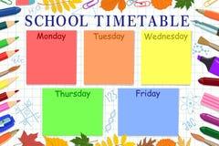 学校或学生` s日程表的模板 也corel凹道例证向量 免版税图库摄影