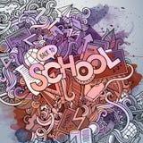 学校手字法和乱画元素和 免版税图库摄影