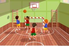 学校打比赛的蓝球队 孩子使用,传染媒介例证 库存例证