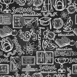 学校教育黑板无缝的样式 免版税库存图片