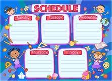 学校时间表日程表,五颜六色的传染媒介例证 库存图片