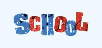 学校概念被盖印的词艺术例证 免版税库存图片