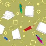 学校注意在卡其色的背景的无缝的样式 免版税图库摄影