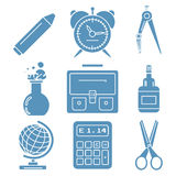 黑学校物品,浅兰的线性象 部分 免版税图库摄影