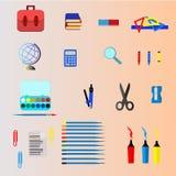 学校用品传染媒介,设计 例证 库存照片