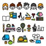 学校用品和孩子 免版税库存图片