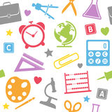 学校用品无缝的模式 免版税库存照片
