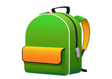 学校的鲜绿色的黄色背包 库存图片