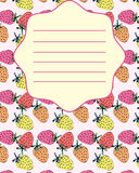 学校笔记本盖子明信片邀请草莓模板 库存照片